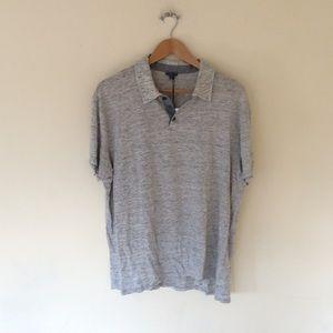 Vince. Cut Away Collar Knit Polo T-Shirt Grey XXL